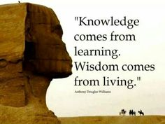 Wisdom Quote - Wisdom comes from Living while the knowledge comes from Learning. We have people in this world who haven't learnt any thing at school Quotable Quotes, Wisdom Quotes, Quotes To Live By, Motivational Quotes, Inspirational Quotes, Spiritual Quotes, Inspiring Sayings, Meaningful Quotes, Knowledge Quotes