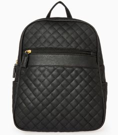Quilted faux leather backpack featuring adjustable straps, one open pocket on each side, one zippered pocket on front, and two interior pockets. Faux Leather Backpack, Leather Bag, Backpack Purse, Fashion Backpack, Black Backpack, My Bags, Purses And Bags, Cute Backpacks, Cute Bags