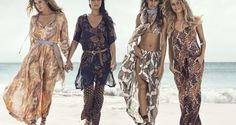 H&M channels bohemian style for its summer 2015 campaign featuring top models Adriana Lima, Joan Smalls, Natasha Poly and Doutzen Kroes. Bohemian Summer, Bohemian Mode, Doutzen Kroes, Natasha Poly, Joan Smalls, Top Models, Fashion News, Boho Fashion, Fashion Trends