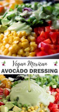 Vegan Avocado Recipes, Vegan Mexican Recipes, Vegan Dinner Recipes, Vegan Dinners, Raw Food Recipes, Vegetarian Recipes, Healthy Recipes, Salad Dressing Recipes, Vegan Salad Dressings
