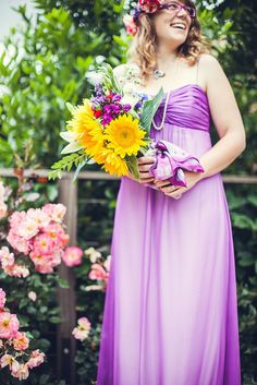 Tribesmaid Staciafuchsia rocks her purple-over-white gown and giant bouquet, but my favorite part is her matchy-matchy glasses!