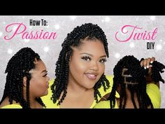EASY Short Passion Twist | DIY For Beginners - YouTube Hair Ponytail Styles, Twist Ponytail, Hair And Beard Styles, Short Hair Styles, Crochet Twist Styles, Crochet Hair Styles, Braided Hairstyles For Black Women, Twist Hairstyles, Black Hair Inspiration