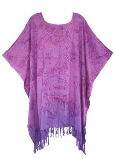 PURPLE Batik CAFTAN KAFTAN Women TUNIC TOP BLOUSE Plus Size 1X 2X 3X 4X 22 24 #Unbranded #Tunic #Casual