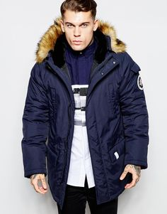 Nicce London Parka With Faux Fur Hood
