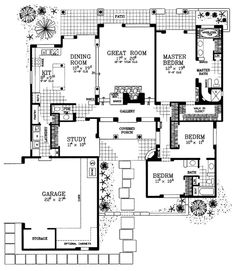 House Plan 90285 - Santa Fe, Southwest Style House Plan with 2276 Sq Ft, 4 Bed, 3 Bath, 2 Car Garage Country House Plans, Best House Plans, House Floor Plans, Autocad, Pueblo House, Casas Country, Southwestern Home, Adobe House, Plan Design