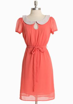 """Simply Infatuated Dress 44.99 at shopruche.com. We're simply infatuated with this delicate chiffon dress in coral accented with a muted gray peter pan collar and a charming keyhole neckline. Finished with back button closures, an optional waist-defining sash, and sheer cap sleeves. Semi-sheer. Partially lined.100% Polyester, Imported, 36"""" length from top of shoulders, 34"""" bust, All measurements taken from a size s..."""