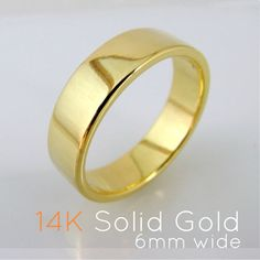 6mm Real 14K Solid Yellow Gold Wedding Band - Flat Square Ring - Polished Shiny Finish - For Men or Women