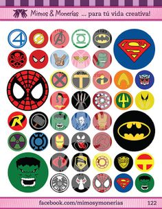 """Super Hero Logos Bottle Cap Images 1"""" - Digital Collage Sheet 8.5x11"""" - Hair Bow Centers, Magnets, Stickers and Crafts - INSTANT DOWNLOAD"""