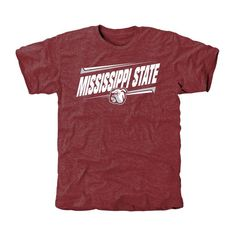 Mississippi State Bulldogs Double Bar Tri-Blend T-Shirt - Maroon