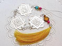 Embossed Metal Moroccan Style Tassel, Bohemian Decoration, Saffron Yellow