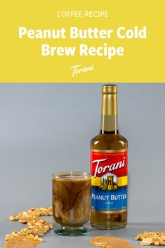 Looking for a new cold brew recipe to try? This peanut butter cold brew recipe uses Torani syrup and is easy to make at home. Grab our full cold brew recipe here! Coffee Drink Recipes, Coffee Drinks, Torani Syrup, Popsicle Recipes, New Flavour, Cold Brew, Us Foods, Hot Sauce Bottles, Brewing