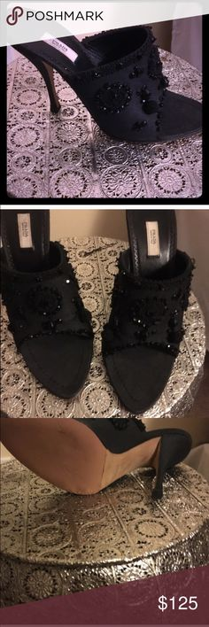 Authentic Prada Heels Gorgeous heels outbid strong black fabric canvas and gorg beaded work Prada Shoes Heels