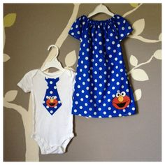 Would work with a different picture other than elmo. Twin Outfits, Toddler Boy Outfits, Matching Family Outfits, Newborn Outfits, Girl Outfits, Elmo Birthday, Baby Boy Birthday, Birthday Ideas, Henry Styles