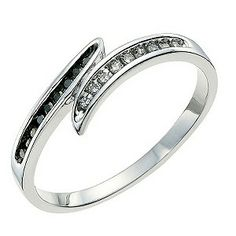 30th bday ideas? Ernest Jones - Silver Eclipse white & treated black diamond ring