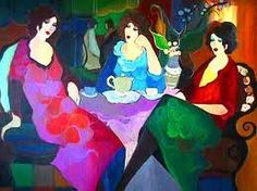 Three ladies at Tea by Itzchak Tarkay (source: fineart-e.com) http://on.fb.me/NTSkJ9 #TeaForTwo