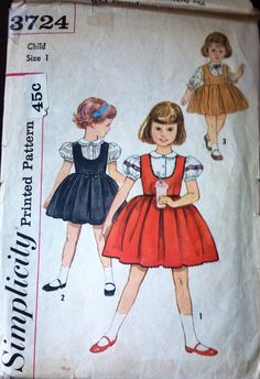 Simplicity 3724 Pattern for Child's Jumper & Blouse, Size 1, Circa 1950s, Vintage Pattern, Home Sewing Pattern, Mid Century Girls' Fashion
