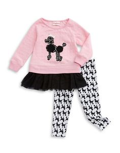 Ultra-soft adorable dress and leggings with a high-class puppy touch. Cotton. Machine wash. Imported.