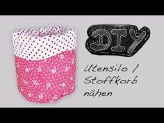▶ Utensilo Stoffkörbchen Nähanleitung + Schnittmuster selber nähen DIY kostenlos video Stoffkorb - YouTube