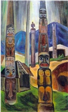 """Emily Carr """"Corner of Kitwancool Village"""" 1930 Tom Thomson, Canadian Painters, Canadian Artists, Emily Carr Paintings, Group Of Seven, Historical Images, Native American Art, Famous Artists, Illustration Art"""