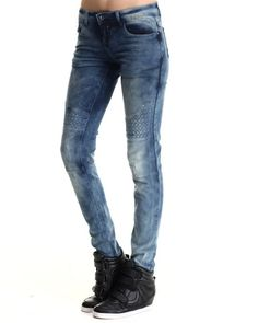 Find Quilted Moto Skinny Jean Women's Bottoms from Basic Essentials & more at DrJays. on Drjays.com