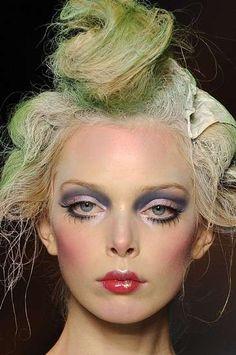 Messy updo with paint. Pat McGrath makeup for John Galliano Doll Makeup, Costume Makeup, Makeup Art, Beauty Makeup, Eye Makeup, Hair Makeup, Hair Beauty, Makeup Ideas, Makeup Geek