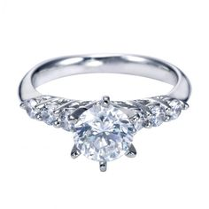 1.43cttw 7-Stone Prong Set Round Diamond Engagement Ring
