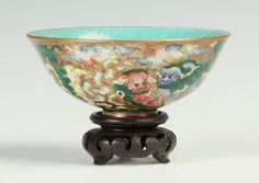 """Chinese Porcelain Bowl. Qing dynasty. Signed. Decorated with shi-shi. Ht. 2"""" Dia. 4 1/2"""""""
