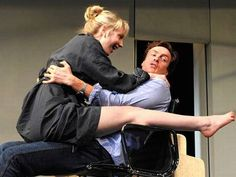 Britain's  Hattie Morahan (Annie) and Toby Stephens (Henry) in Tom Stoppard's 'The Real Thing'