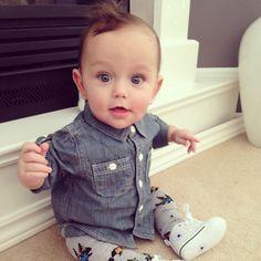 Baby leggings, converse, denim button-down - super cute baby boy style Little Boy Outfits, Little Boy Fashion, Baby Boy Fashion, Baby Boy Outfits, Kids Outfits, Kids Fashion, Fashion Outfits, Baby Boy Swag, Cute Baby Boy