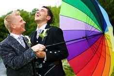 Enlightened Ceremonies - Gay Grooms with Rainbow Umbrella
