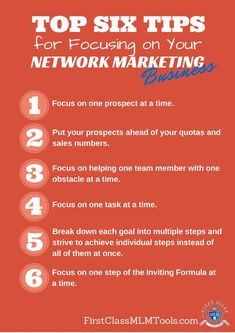 You can be told to focus, but do you really know how? Here are top six tips on how to focus on your network marketing business. Sales And Marketing, Business Marketing, Consumer Marketing, Amway Business, Business Valuation, Business Money, Network Marketing Quotes, Business Quotes, Career Quotes