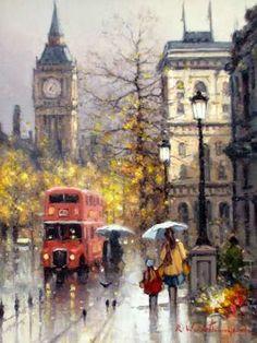 London Poster, London Art, Fantasy Landscape, Landscape Art, Drawing Simple, London Painting, Great Paintings, Impressionism Art, Wow Art