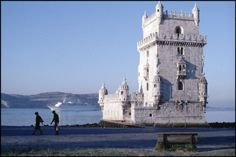 Bruno BarbeyPORTUGAL. Lisbon. A towered castle on the edge of the Tagus River at Belem. 1979.