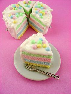 Springtime Soft Pastel Rainbow Cake Slice - Polymer Clay Miniature Food - Pendant / Necklace