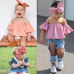 Toddler Kids Baby Girls Outfits Clothes T-shirt Tops+Bowknot Headband 2PCS Set in Baby, Clothes, Shoes & Accessories, Boys' Clothing (0-24 Months) | eBay!