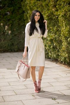 @roressclothes clothing ideas #women fashion white dress, blush handbag