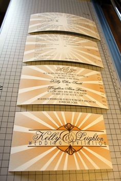 Booklet wedding invitations are one of our most popular types of bespoke wedding invitations. Some of our clients refer to them as cheque book invitations. Bespoke Wedding Invitations, Wedding Stationery, Art Deco Invitations, Miami Art Deco, Artemis, Art Deco Fashion, Booklet, Wedding Blog, Reception