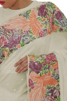 Ivory Parsi Gara Hand Embroidered Pure Crepe Saree