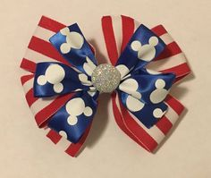 """Excited to share the latest addition to my #etsy shop: 4"""" Patriotic Mickey Mouse Hair Bow #hair #mickeymousebow #accessories #patriotic #redwhiteandblue #portababy"""