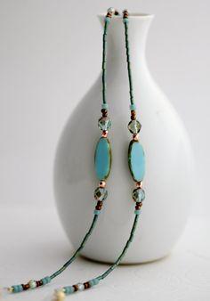 Eyeglasses Chain Necklace, Turquoise Eyeglass Necklace, Eyeglass Chain, Turquoise Lanyard, Reading glasses chain holder, sunglasses chain on Etsy, $26.00