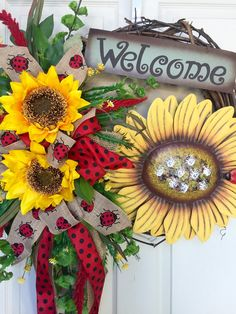Ladybug and Sunflowers Round Summer or Spring Grapevine Wreath by WilliamsFloral on Etsy https://www.etsy.com/listing/286327303/ladybug-and-sunflowers-round-summer-or