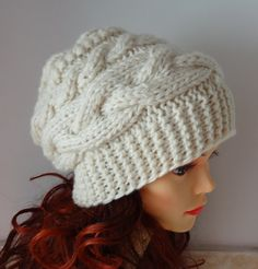 Unisex slouchy - beanie hat - Slouch Beanie - Large hat - chunky hat - Chunky Knit Winter Fall Accessories Knit Cable hat - any color Slouch Beanie, Slouchy Hat, Beanie Hats, Fedora Hat, Men's Hats, Knitted Hats, Crochet Hats, Winter Knit Hats, Cable Knit Hat