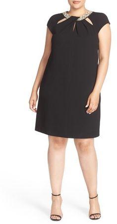 Plus Size Twist Neck Crepe Sheath Dress