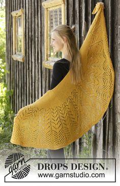Calendula - Châle tricoté avec point ajouré et point mousse en DROPS Nord. Modèle tricot gratuit DROPS 195-4