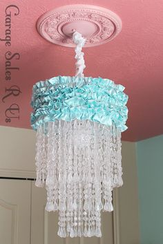 DIY Chandelier from an old lamp cover. Use some gothy colors and tada!