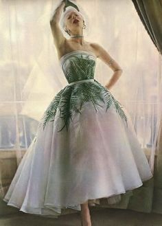 I LOVE THE POSE...THE I THINK I'M GONNA FAINT.....Bettina in Jacques Fath's (gorgeous!) organdy evening gown with fern embroidery by Lesage, photo by Willy Maywald. #vintage #1950s #fashion #dresses