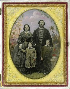"Family, 1855, Robert H. Vance (c 1876), ambrotype with applied color.  This artwork is part of ""Faking It: Manipulated Photograph Before Photoshop."""