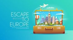 Trip to Europe. Travel to Europe. Vacation to Europe. Time to travel. Road trip. Tourism to Europe. Travel banner. Open suitcase w