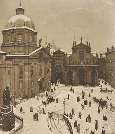 "amare-habeo: "" Richard Teschner (Austrian, Little Square in winter, Aquatint, paper, 390 x 317 mm "" European Paintings, Old Paintings, Old Pictures, Old Photos, Prague Travel, Fantasy City, City Painting, Heart Of Europe, Architecture Drawings"
