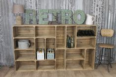 Stunning multi shelf unit produced in a stacked 'packing crate' style, and can be used vertically or horizontally #industrial #shabbychic #retro